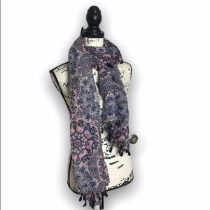 Pink and blue paisley scarf